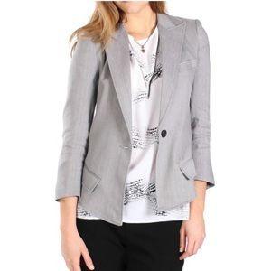 Smythe linen blend fitted sharp shoulder blazer 4